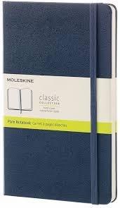 Moleskine Classic Notebook, Large, Plain, Sapphire Blue, Hard Cover [3687]