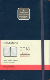 Moleskine 12 Month Daily Planner 2018, Large, Sapphire Blue, Hard Cover [5648]